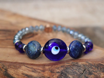 Best Vibes for 2021 - Blue Evil Eye and Lapis Lazuli Bracelet