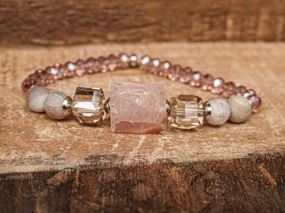 Love Me More - Rose Quartz & Druzy Bracelet