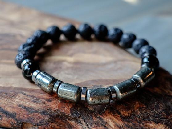 Money  Maker  - Pyrite, Black Onyx & Lava Stone Bracelet