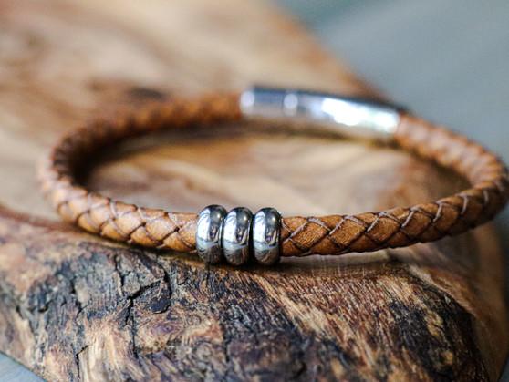 Trio Vintage Natural Leather Bracelet