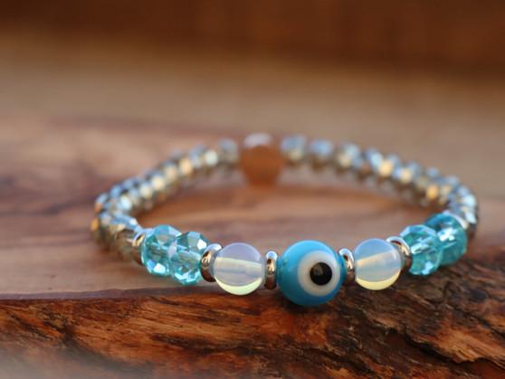 Stay Protected- Opal - Light Blue Evil Eye
