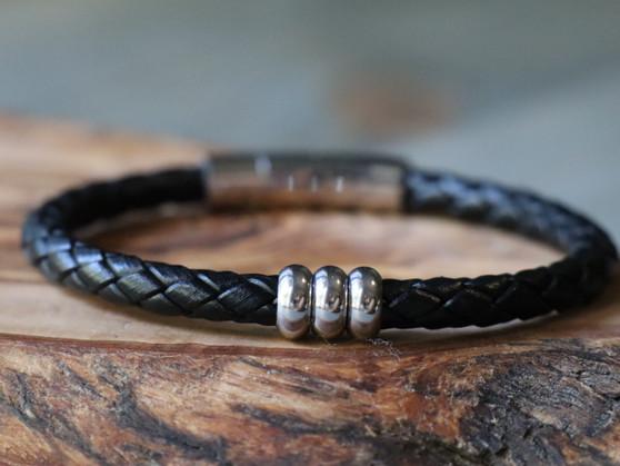 Trio Black Leather Bracelet