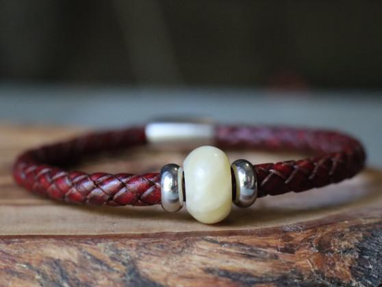 Yellow Jade - Burgundy Leather Bracelet