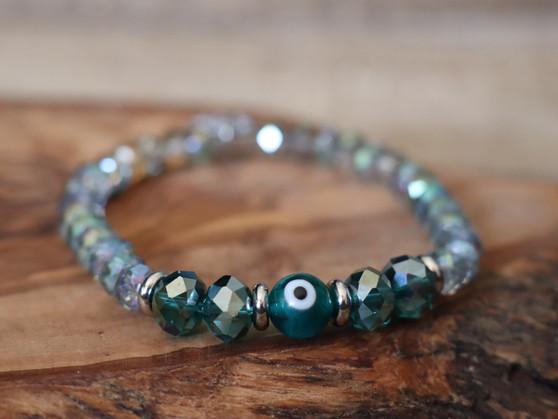 Teal Evil Eye  Bracelet  - Ojitos Collection