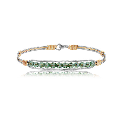 Nightingale Bracelet - Mirror Silver with 14K Gold Artist Wire Center and Wraps featuring Green Crystals