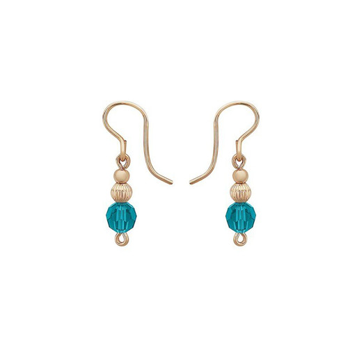 Inspire Earrings - 14K Gold Artist Wire featuring teal Swarovski crystals