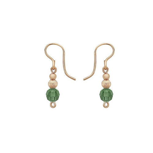 Nightingale Drop Earrings - 14K Gold Artist Wire featuring Green Crystals