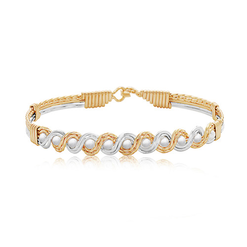 Head Over Heels Bracelet - 14K Gold Artist Wire and Sterling Silver