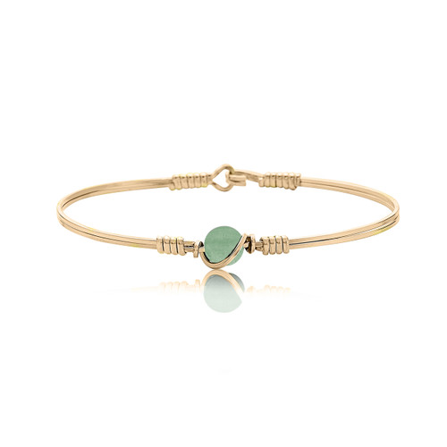 Breathe Bracelet - All 14K Gold Artist Wire with Aventurine Bead