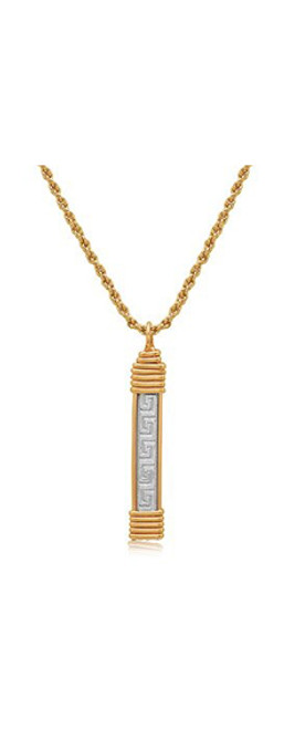 Greek Key Pendant - Sterling Silver Bar with 14K Gold Artist Wire Wraps