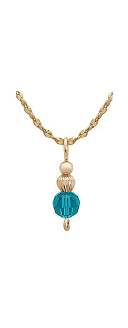 Inspire Drop Pendant - 14K Gold Artist Wire and Teal Swarovski Crystals