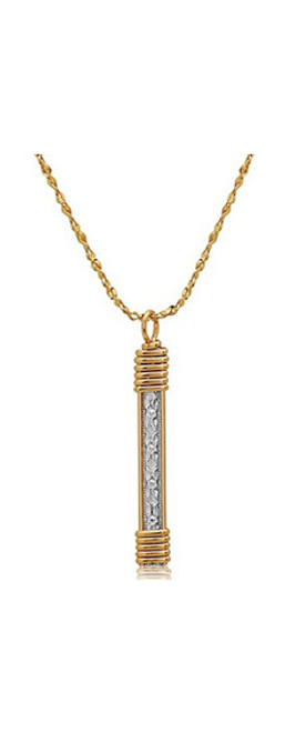 Katbird Pendant - Sterling Silver Bar with 14K Gold Artist Wire