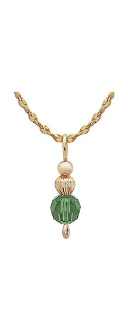 Nightingale Drop Pendant - 14K Gold Artist Wire with Green Crystal