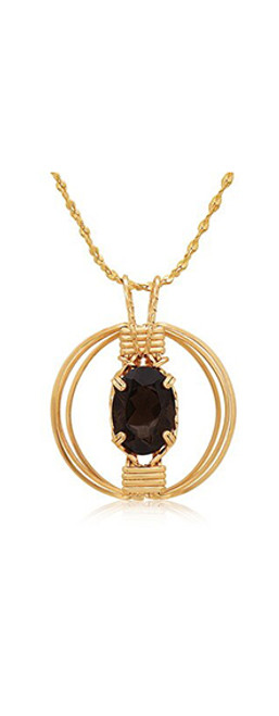 Gemstone Pendant (3D Setting) - 14K Gold Artist Wire (with Smoky Quartz)