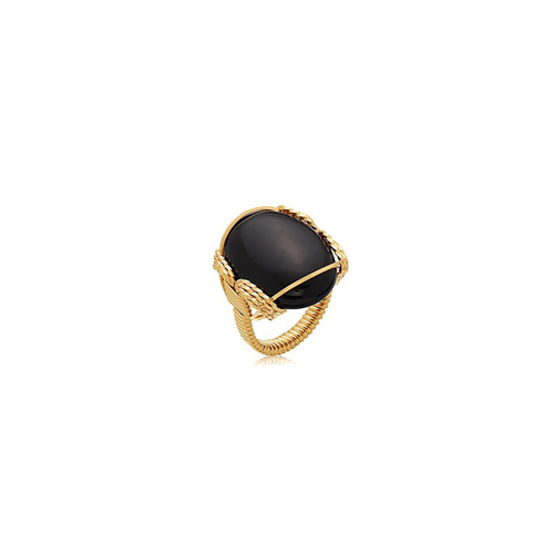 Semi-Precious Cabochon Ring 18x13mm - Black Onyx