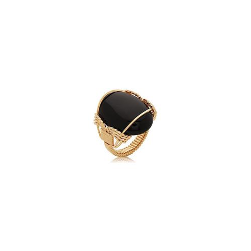 Semi-Precious Cabochon Ring 25x18mm - Black Onyx