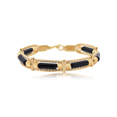 Color Your World Bracelet - Black Onyx and Gold Bead