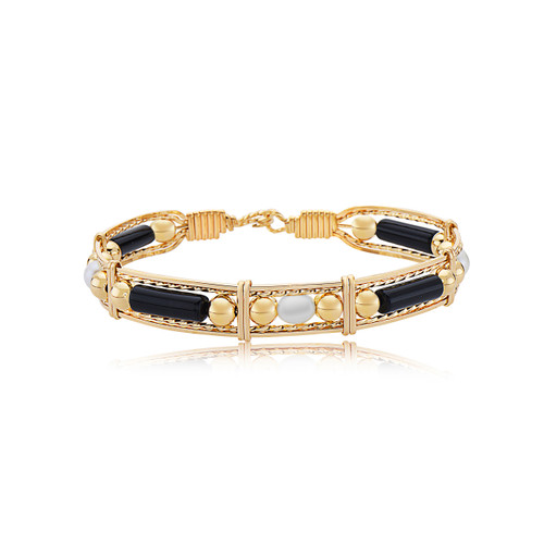 Color Your World Bracelet - Black Onyx, Gold Bead and Pearl