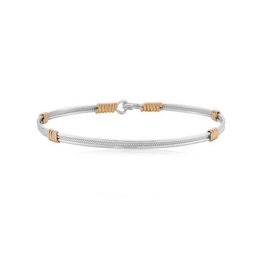 Be Kind Bracelet - Sterling Silver with 14K Gold Artist Wire Wraps