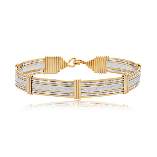 Inner Beauty Bracelet (Wide) - Sterling Silver Bar with 14K Gold Artist Wire Wraps