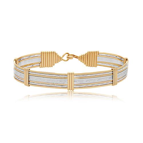 Inner Beauty Bracelet (Wide) - Sterling Silver Bar with 14K Gold Artist Wire Wraps