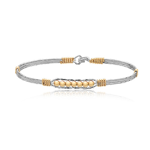 Power of Prayer Bracelet (Mirror) - Sterling Silver with 14K Gold Artist Wire Wraps and Beads