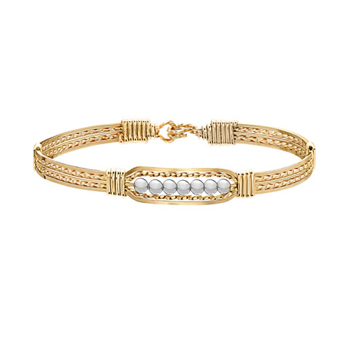 Power of Prayer Bracelet (Wide) - 14K Gold Artist Wire with Silver Beads