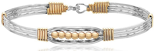 Power of Prayer Bracelet (Wide-Mirror) - Sterling Silver with 14K Gold Artist Wire Wraps and Beads