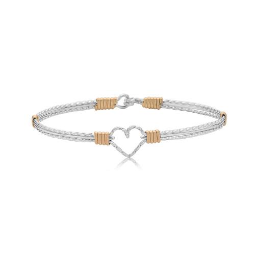 I Am Cherished Bracelet - Silver with 14K Gold Artist Wire Wraps