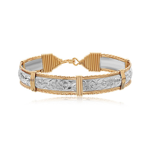 Angelina Bracelet - Silver Bar with Outer 14k Gold Artist Wire & 14K Gold Artist Wire Wrap