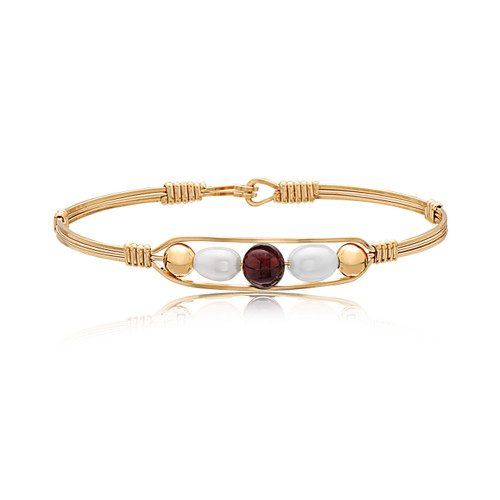 Believe Bracelet - 14K Gold Artist Wire With Garnet Bead