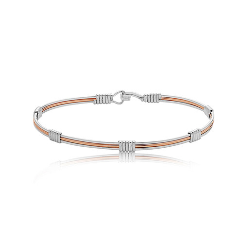 Blush Bracelet - Outer Silver & Faceted Rose Gold Center