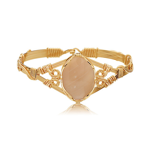 Semi-Precious Cabochon Bracelet - Mother of Pearl