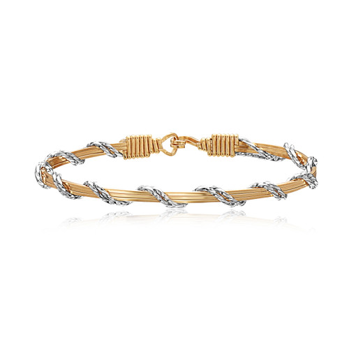 Candy Stripe Bracelet - 14K Gold Artist Wire with Sterling Silver Wraps