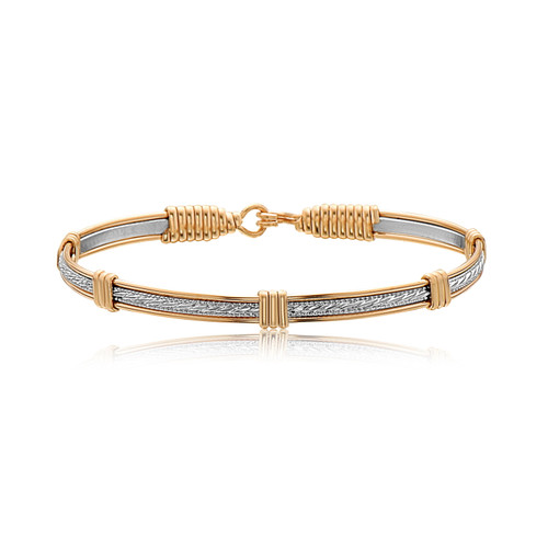 Clara Bracelet - Silver Bar with 14K Gold Artist Wire Wraps