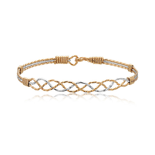 Connected Bracelet - 14K Gold Artist Wire and Sterling Silver with Gold Wraps