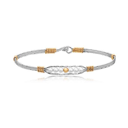 Creation Bracelet - Silver & 14K Gold Artist Wire Wrap & Gold Filled Center Bead