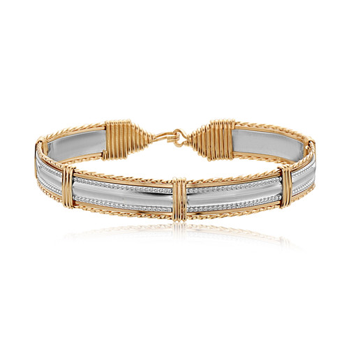 Dome Bar Bracelet - Sterling Silver Bar with 14K Gold Artist Wire Wraps