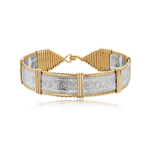 Elizabeth Bar Bracelet - Sterling Silver Bar with 14K Gold Artist Wire Wraps