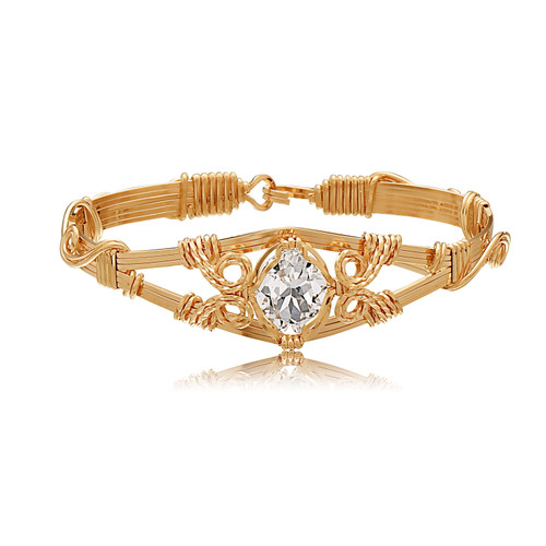 6 Strand Gemstone Bracelet - 14K Gold Artist Wire - White Topaz