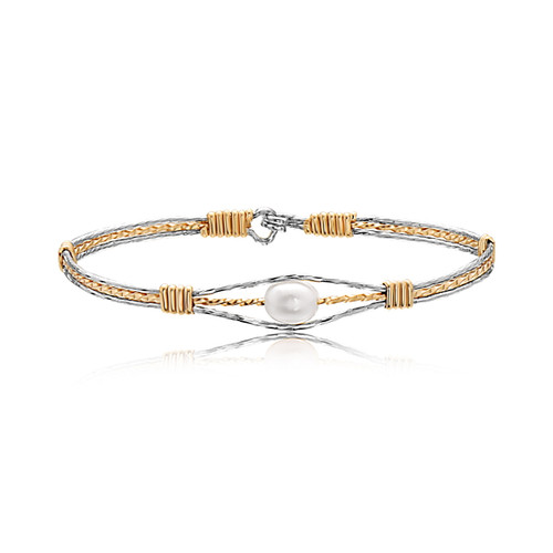Guardian Angel Bracelet - Mirrored Silver with a 14K Gold Artist Wire Center