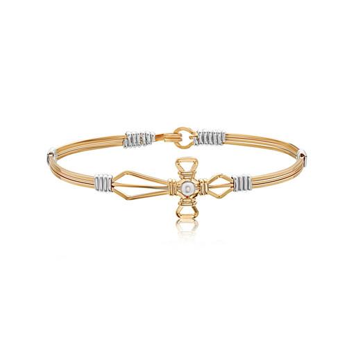 Jesus Loves Me Bracelet - 14K Gold Artist Wire with Sterling Silver Wraps