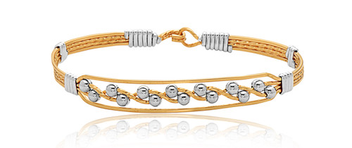 Journey Bracelet - 14K Gold Artist Wire with Sterling Silver Wraps and Beads