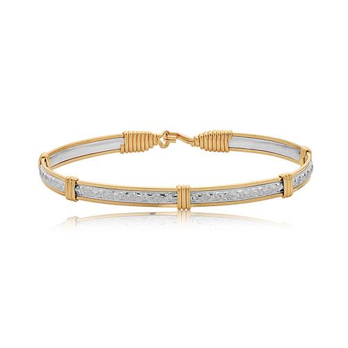 Katbird Bracelet - Sterling Silver Bar with 14K Gold Artist Wire Wraps