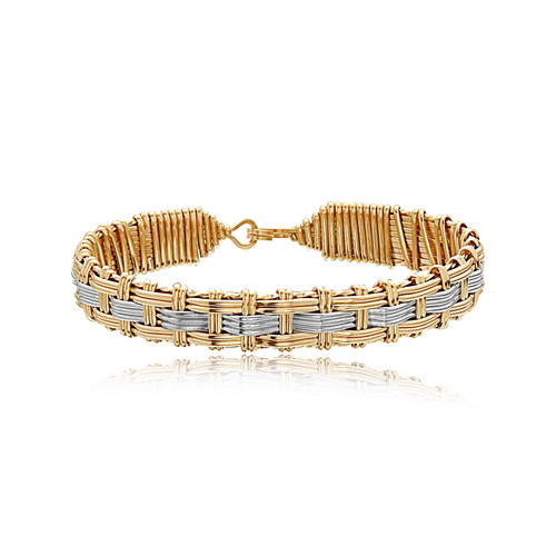 Lady Bracelet - 14K  Gold Artist Wire and Sterling Silver