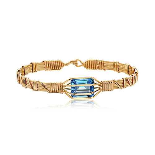My Favorite Gem  Bracelet - 14K Gold Artist Wire  with Blue Topaz