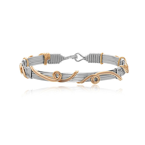 New Beginnings Bracelet - Sterling Silver with 14K Gold Artist Wire Sculptures