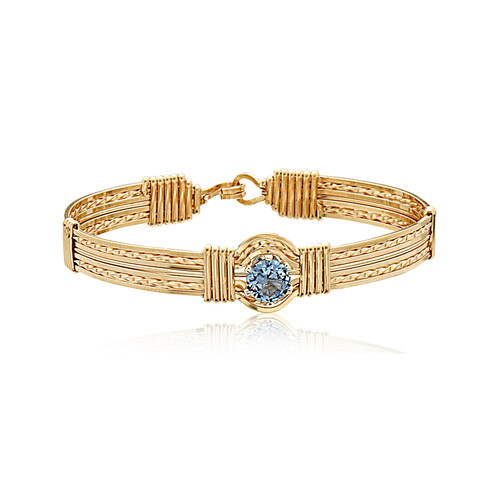 Only One Mom Bracelet - 14K Gold Artist Wire (March Stone)
