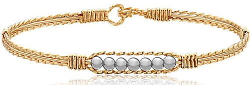 Power of Prayer Bracelet  - 14K Gold Artist Wire with Silver Beads