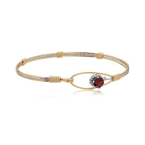 Promise Bracelet - 14K Gold Artist Wire and Sterling Silver (January Stone)